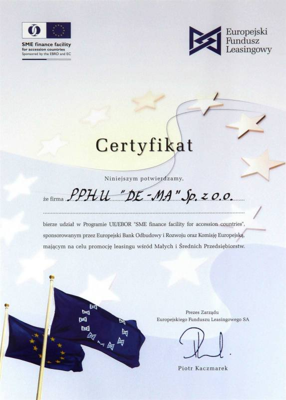 Certyfikat Ebor